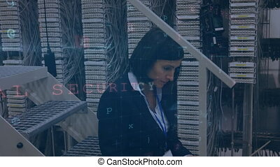 Woman working in server room with moving data security messages