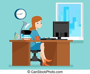Woman working office at the desk with computer in flat style