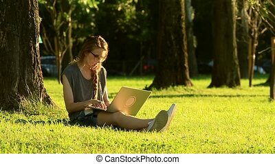woman working on a laptop while sitting on a green lawn during sunset