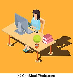 Woman working on computer at desk isometric vector