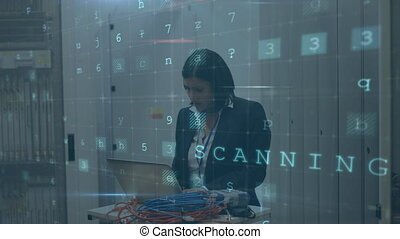 Woman working on computer server while warning messages appear in foreground