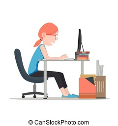 woman working on computer Vector