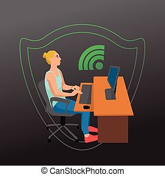 Woman working on her laptop by the desk illustration on white background