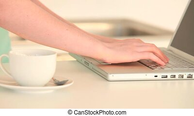 Woman working on her laptop in the kitchen