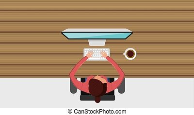 woman working on her laptop with open book coffee cup on wooden table