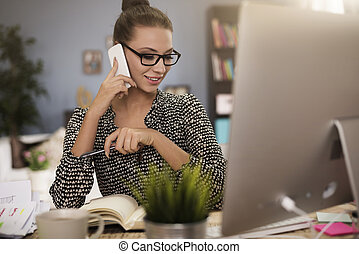 Woman working on her own account