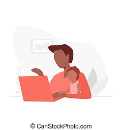 Woman working on laptop at home with her baby