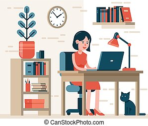 Woman working on laptop sitting on chair at desk in home interior