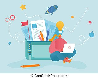Woman Working on Laptop with Glowing Light Bulb above Head Sitting near Huge Portfolio Bag with Different Tools and Docs. Office Worker, Freelancer Have Creative Idea Cartoon Flat Vector Illustration