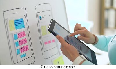 woman working on tablet pc interface design - technology,...
