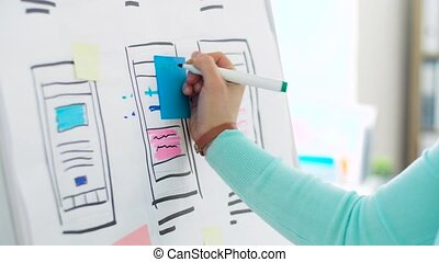 woman working on user interface design at office -...