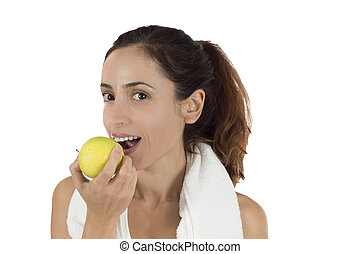 Woman working out and healthy eating in a healthy lifestyle