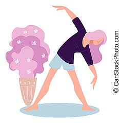 Woman working out at home, healthy lifestyle activities - ...