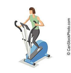 Woman working out on elliptical trainer in the gym. Colorful isometric illlustration of fitness equipment in action. Flat vector illustration. Isolated on white background.