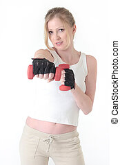 Woman working out with three pound weights