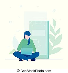 Woman working with a laptop - flat design style colorful illustration