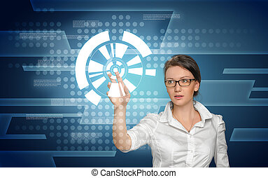 Woman working with digital screen - Smart-looking woman is ...