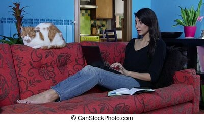 Woman Working With Laptop Pc Home