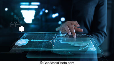 woman working with medical network on virtual screen interface in hospital background, medical technology network concept.