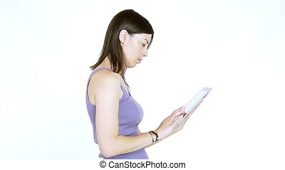 Woman working with tablet ipad