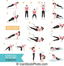 Woman workout fitness, aerobic and exercises. Vector...