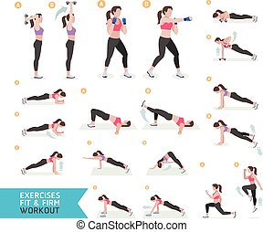Woman workout fitness, aerobic and exercises. Vector ...