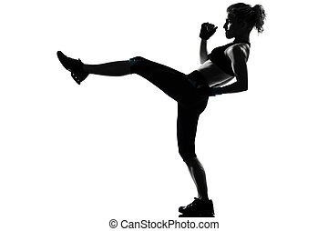 woman workout fitness posture - one woman exercising workout...