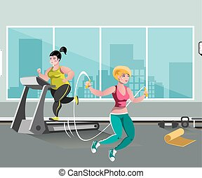 Woman workout with jumping rope.