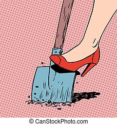 woman works in a garden shovel digging farmer housewife shoes ar