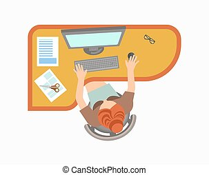 Woman works on computer at office isolated illustration