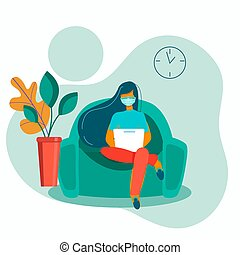 Woman works online at home, illustration. Social distance and self-isolation during quarantine of the corona virus