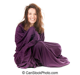 woman wrapped in sheet