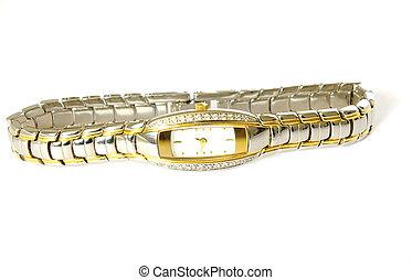 woman wrist watch on white