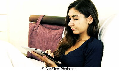 Woman write email with tablet