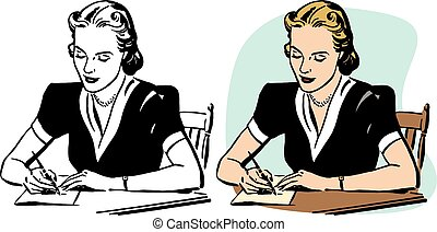 Woman Writing - A woman hand writing a letter.