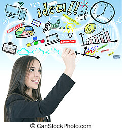 woman writing business concepts