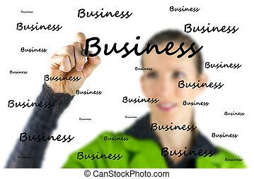 Woman writing - Business - on a virtual screen
