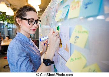 Woman writing business plan on whiteboard