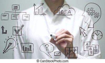 Woman writing CV on transparent screen. Businesswoman write on board.