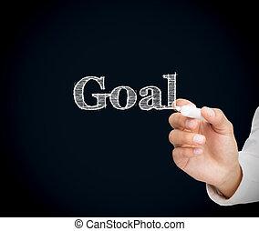 Woman writing goal on a blackboard