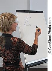 Woman writing on a board