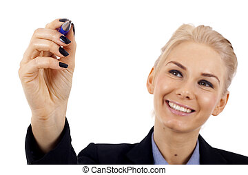 woman writing - Business woman writing something with a blue...