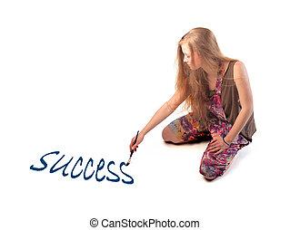 """Woman wrtiting """"success"""""""