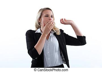 woman yawning