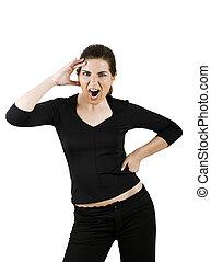 Woman yelling