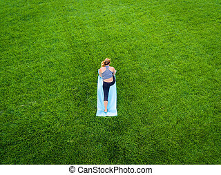 Woman Yoga Aerial