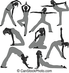 A set of woman yoga exercise poses.