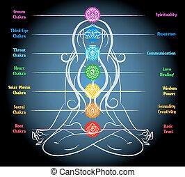 Woman yoga meditation with chakras. Heart and sacral, root...
