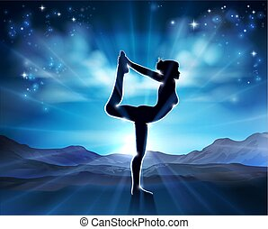 Woman Yoga Pilates Pose Silhouette Background