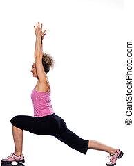 woman yoga virabhadrasana stretching warrior posture pose
